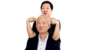 Asian senior couple playing teasing. Woman and man Long relation Royalty Free Stock Image