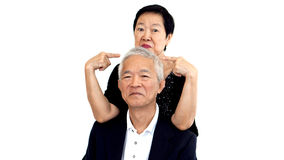 Asian senior couple playing teasing. Woman and man Long relation Stock Photo