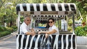Asian senior couple riding on safari Zebra Car at zoo trail Royalty Free Stock Photography