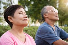 Asian senior couple smiling. Happy Asian senior couple smiling and breathing fresh air while exercising at park outdoor stock photography