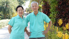 Asian senior couple smiling togher in green nature background Stock Image