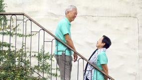 Asian senior couple travel for anniversary trip Royalty Free Stock Photos