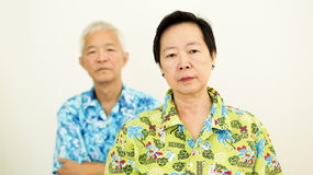 Asian senior couple unhappy, fighting. Relationship problem on w Royalty Free Stock Photos
