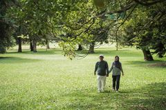 Asian senior couple walking in the park and hold hand stock photos