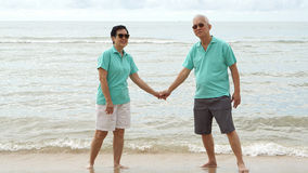 Asian senior couple walking together on the beach by the sea Stock Images