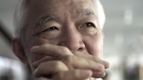 Asian senior elder man happy expression with wedding gold ring on left hand