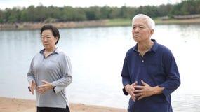Asian Senior Elderly couple Practice Taichi, Qi Gong exercise ne. Asian Senior Elderly couple Practice Taichi, Qi Gong exercise outdoor next to the lake Royalty Free Stock Photos