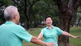 Asian Senior Elderly couple Practice Taichi, Qi Gong exercise ou Stock Photo
