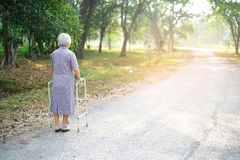 Asian senior or elderly old lady woman use walker with strong health while walking at park. In happy holiday stock photos
