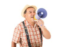 Asian senior man holding with megaphone. Shouting Stock Photography