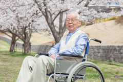 Asian senior man sitting on a wheelchair Royalty Free Stock Images