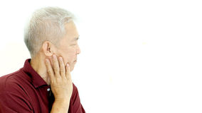 Asian senior man thinking unhappy with copy space Royalty Free Stock Image
