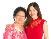 Asian senior mother and adult daughter Stock Images