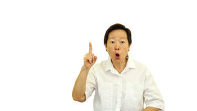 Asian senior say no with emotion expression face Royalty Free Stock Images