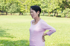 Asian senior woman back pain Stock Photography