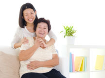 Asian senior woman and daughter Royalty Free Stock Images