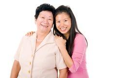 Asian senior woman and daughter Royalty Free Stock Image