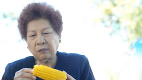 Asian senior woman in eating hot corn outdoor. stock video footage