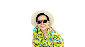 Asian senior woman on green hawaii shirt wear hat and sunglasses Royalty Free Stock Photography