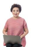 Asian senior woman isolated on white stock photos