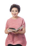 Asian senior woman isolated on white stock images