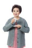 Asian senior woman isolated on white royalty free stock photos