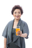 Asian senior woman isolated on white Royalty Free Stock Image
