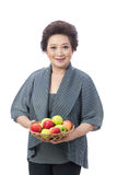 Asian senior woman isolated on white Royalty Free Stock Photo