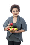 Asian senior woman isolated on white Royalty Free Stock Photography