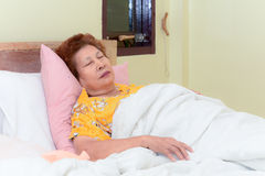 Asian Senior Woman lying in bed sleeping Stock Images