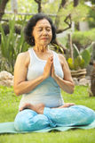 Asian senior woman meditating for yoga outside Stock Images