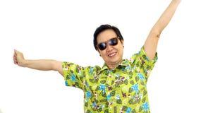 Asian senior woman smile on green hawaii shirt white isolate background Stock Photo