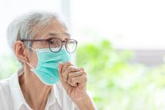 Free Asian Senior Woman Suffer From Cough With Face Mask Protection,elderly Woman Wearing Face Mask Because Of Air Pollution,Sick Old Stock Image - 148623501
