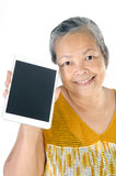 Asian senior woman with tablet Stock Photo