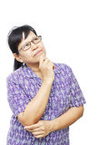 Asian senior woman thinking something Stock Photos