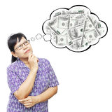 Asian senior woman thinking to money Royalty Free Stock Photography