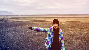 Asian senior woman travel to Iceland have fun retirement. Asian senior woman travel to Iceland have fun after retirement Stock Photos