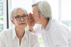 Asian senior woman holding hand near mouth telling funny,gossips on ears to friend,speaking in elderly woman ear and near face, royalty free stock images