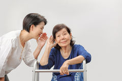 Asian seniors woman hearing loss. Asian seniors women hearing loss , Hard of hearing Stock Photo