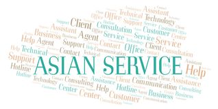 Asian Service word cloud vector illustration