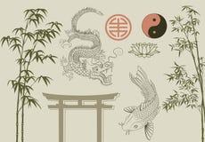 Asian set. Vector design elements. oriental style Royalty Free Stock Photos