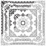 Asian set of patterns and ornaments. Set of seamless borders, be. Autiful angles.Oriental, floral designs, brush sets for design Royalty Free Stock Image