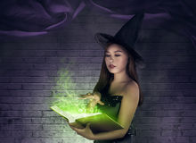 Asian sexy witch creating a spell at the book. With magical items Royalty Free Stock Images