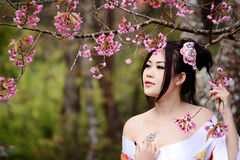 Asian sexy woman wearing traditional Japanese kimono Stock Photo