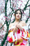 Asian sexy woman wearing traditional Japanese kimono Stock Image