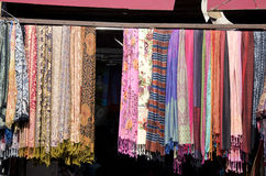 Asian shawl in street market Royalty Free Stock Photo