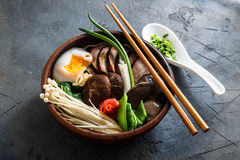 Asian Shiitake Enoki spring onions Mushroom egg Noodle or ramen Stock Photography