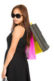 Asian Shopper Rear Looking Over Shoulder Half Royalty Free Stock Image