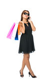 Asian Shopping Bags Dress Sunglasses Phone Away Royalty Free Stock Photo