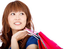 Asian shopping woman Stock Images